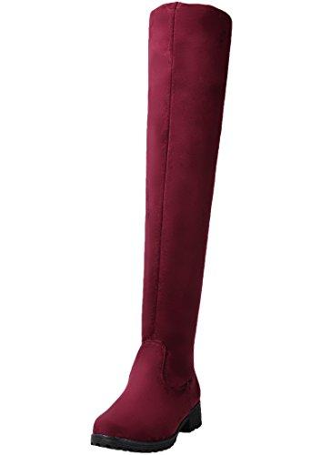 BIGTREE Stivali Lunghi Donna Piatto Autunno Inverno Confortevole Sintetica Scamosciata Casual Calda Pelliccia Stivali Alti del Ginocchio Rosso 38 EU