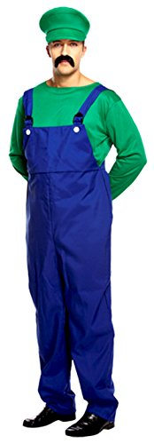 per Mario Klempner Arbeiter Pilz Herren Kostüm Spiel Fancy Outfit (Mario Pilz Kostüme)