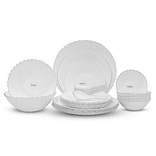 Soogo Opalware Dinner Set, 27-Pieces, Silver Rim