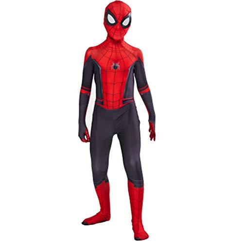Kostüm Spider Red Mann - ZHANGQI Marvel Spider-Man Weit Weg Von Zu Hause Spiderman Kind Film Cosplay Anime Deluxe Kostüm Schwarz Und Rot,Red(A)-Children(S)(100-110)