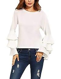 0c4ee32c3a617 Tops Mujer con Valance Elegante Manga Larga Shirts Primavera Otoño  Ocasional Ropa Moda Único Cuello Redondo Camisas Blusas…