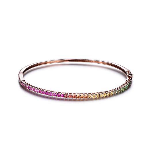18K Gold Edelstein Armband Natürlichen Diamanten Rubin Saphir Diamant Kette Armbänder mit Regenbogen Design Modeschmuck für Freundin Frau Mutter Geschenk,20cm