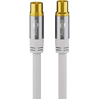 XTC High-End Premium TV Antennenkabel (135 dB Typ), 4X geschirmt, vergoldet, Koax-Buchse > Koax-Stecker, 10m Weiss