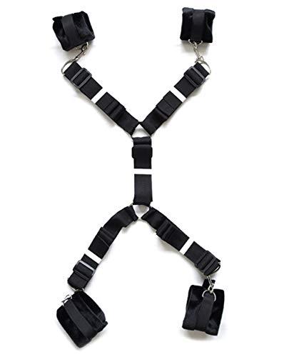 ForBestWish Fesseln unter dem Matratzenbett Kit mit bequemen Fußfesseln und Handgelenkfesseln, die unter der schwarzen Bettdecke verstellbar sind. Träger für Übungsbänder für Paare