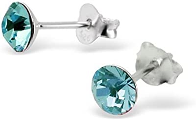 Laimons - Pendientes redondos con cristal para mujer - Plata de ley 925 - Azul turquesa