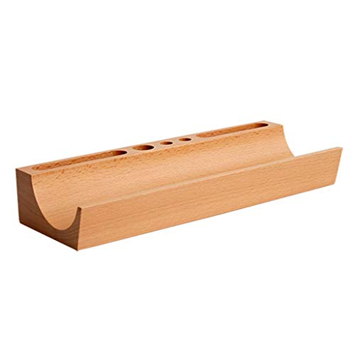 LIXMZZWJ Hölzerner Büro-Desktop-Speicher-Regal, Massivholz 1-2 Tier Organizer Schere Brille Einheit rechteckigen Bleistift modernen Stil für Home Standard Stifthalter natürlich (Farbe : Natürlich)