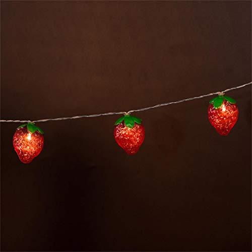10 LED rote Erdbeerfrucht Lichterkette Kinderzimmer Dekorationslampe Flamme Glühbirne, Flamme, Flackerlicht Birne für Halloween, Weihnachten, Haus, Restaurants, Bar Party und Festdekorationen (Rot)