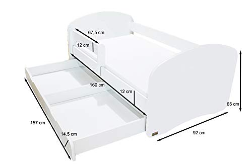 Clamaro \'Schlummerland\' 160 x 80 Kinderbett mit Rausfallschutz und Aufkleber, mit Bettkasten auf Rollen, Matratze und Lattenrost, Kantenschutzleisten - Bett Farbe: Weiß, Motiv: 01 (ohne Aufkleber)