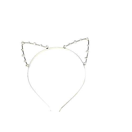 Nicetruc Katze-Ohr geformt Legierung Stirnband Cut Glänzende Haarband Kostüm Tage Dekorationen Partei Kopfbedeckung für Frauen-Mädchen-Silber