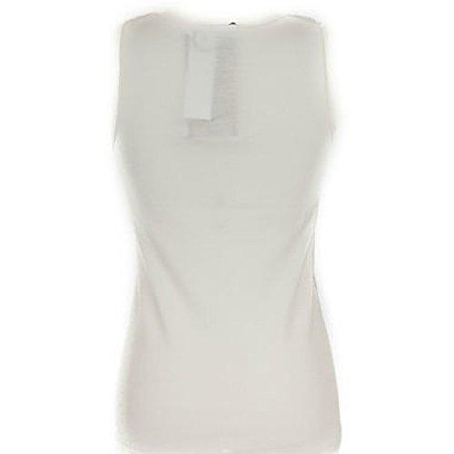 Canottiera donna a spalla larga liscia in lana cotone Bianco