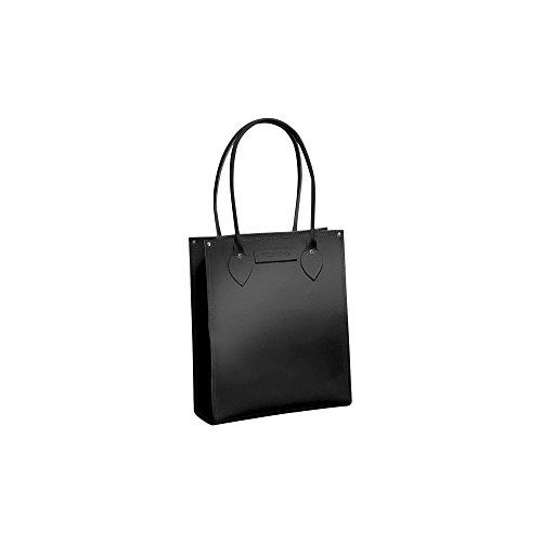 Zatchels Classic - Sac cabas en cuir (Fabrication britannique à la main) - Femme Noir