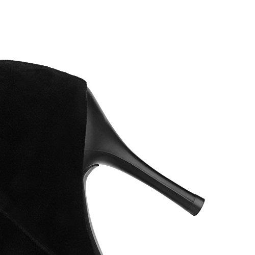 AgooLar Damen Mattglasbirne Reißverschluss Spitz Zehe Hoher Absatz Hoch-Spitze Stiefel Schwarz