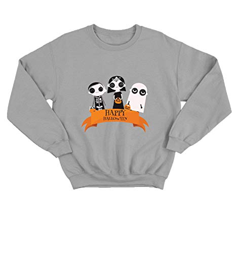 Halloween Scary Kids Tricks Or Treats_006237 Cute Funny Sweater Sweatshirt Pullover Present - SM Grey Crewneck ()