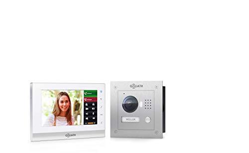 """GOLIATH IP 2 Draht Video Türsprechanlage mit 1,3 Megapixel Kamera 150°, 7\"""" Touchscreen, Smartphone Handy App, Türöffner, Gegensprechanlage, Video-Sprechanlage, Unterputz Außenstation, Einfamilienhaus"""