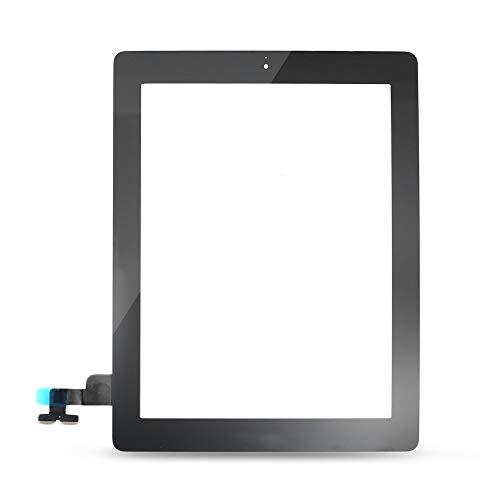 Erduo Frontglas-Touchpanel-Sensor Ersatz-Touchscreen-Kunststoff-Digitizer-Home-Button-Baugruppe für iPad2 - Schwarz