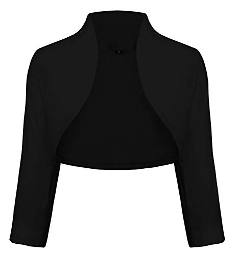 Schwarzer Bolero (TrendiMax Damen Eleganter Bolero Jacke Schulterjacke Kurzes Jäckchen 3/4 Ärmel,Schwarz,S)