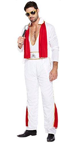 lvis Presley Music Promi Berühmte Leute 50s Jahre Kostüm Kleid Outfit STD & XL - Weiß, X-Large ()