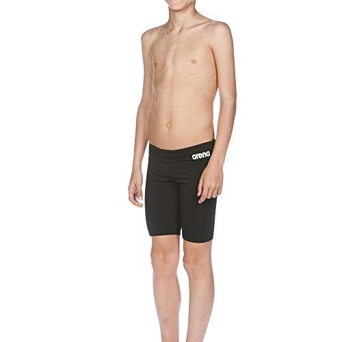 arena Jungen Trainings Badehose Solid Jammer (Schnelltrocknend, UV-Schutz UPF 50+, Chlorresistent, Kordelzug), Schwarz (Black-White), 152