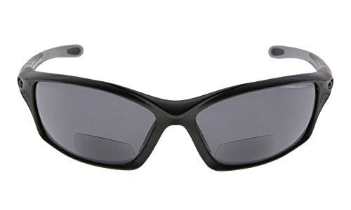 Eyekepper TR90 Rahmen Bifokal Sport Sonnenbrille Baseball Laufen Angeln Fahren Golf Softball Wandern Leser (Schwarzer Rahmen Grauer Tempel, 2.00)