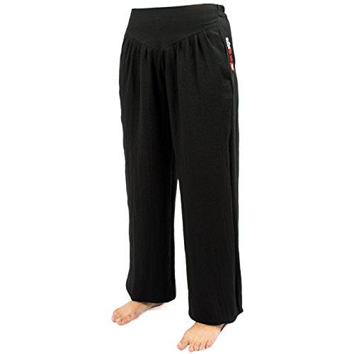 wu designs Baumwolle Frauen Trainingshose - Sport - Yoga - Freizeit, schwarz, 170 (Gewaschenes Leinen Hose)