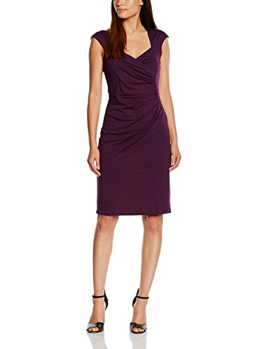 HotSquash Women's Short Sleeve with Crossover Top Knee-Length Body Con Short Sleeve Dress, Violet (Damson), 10 (Manufacturer Size: 38)