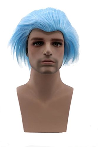 COSPLAZA Perücke Male Cosplay Wigs Short Spiky Anime Show Party Costume Hair Wig light Blue