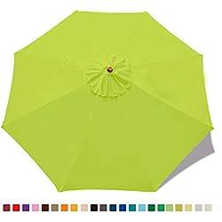 ABCCANOPY Parasol de Jardin de terrasse de Rechange pour Parasol de marché 2,7 m 8 Baleines (Housse Uniquement) Vert Citron