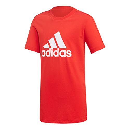 Adidas yb logo tee maglietta, bambino, bambino, dj1776_176 (15/16 años), rosso (vivid red)/bianco, 176 (15/16 años)