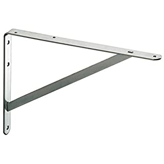 GedoTec® Shelf support Heavy load carrier Heavy load console ATHENA 3 Sizes Steel Massive 3 Colors Buoyancy 200 - 300 KG MADE IN GERMANY - Steel silver RAL 9006, 395 x 270 x 30 mm