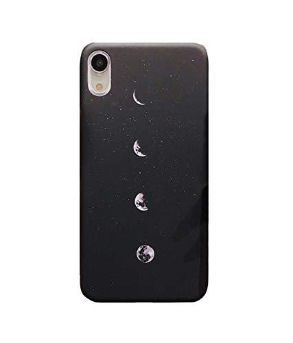 Poliert Matt (Omorro Schutzhülle für iPhone XR (japanischer Fujiyama-Druck, dünn, Omorro), matt poliert, Ultraleicht, dünn, Kratzfest, Schwarz/Weiß, iPhone XR, Moon)