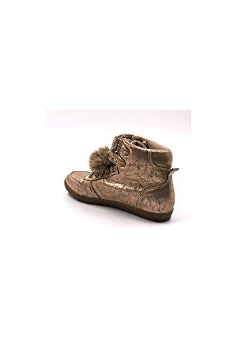 CHIC NANA . Chaussure Mode Baskets femme style similicuir métalisé, double scratch cheville. Or