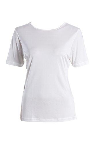 SUPERIOR NATURALS, T-Shirt, Damen, Rundhals, 100% Seide, Interlock, Weiss, XL