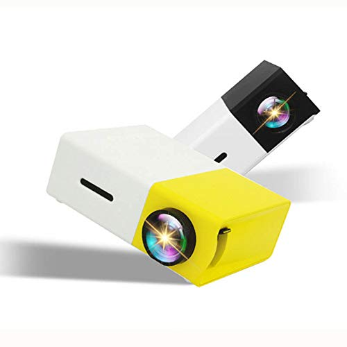 DIVAND Mini-Video-Projektoren, Portable 1080P LED Phone Projektor Indoor-Outdoor-Movie-Projektoren unterstützen Laptop PC Smartphone HDMI Input Pocket Projector für Party Camping Home Cinema,Yellow