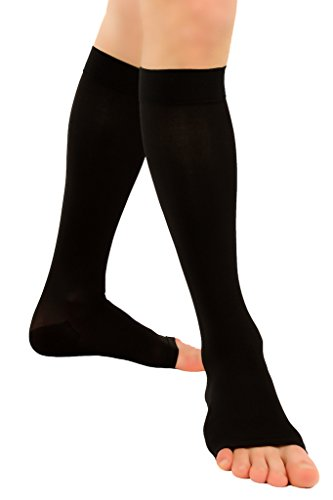 ®BeFit24 abgestufte medizinische Kompressionsstrümpfe (23-32 mmHg, 120 Den, Klasse 2) mit offener Spitze für Damen und Herren – nahtlose Stützstrümpfe hervorragend geeignet bei Krampfadern, gegen Reisethrombosen, Ödeme und Flüssigkeitseinlagerungen in Bein und Fuß - [ Größe 5 - Lang: A - Schwarz ] (Unterstützung 30 Mmhg)