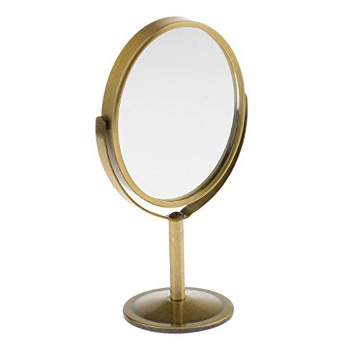 Baoblaze Mini Dualseitig Normal Vergrößern Ovalen Stand Makeup Tisch Spiegel - Bronze, 75 x 93 mm