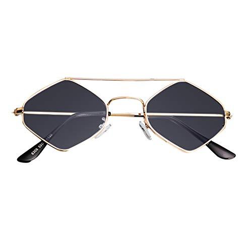 fazry Damen Jahrgang Eng Katzenauge Zweistrahl Diamant Metall Rahmen Sonnenbrille Brillen(Grau)