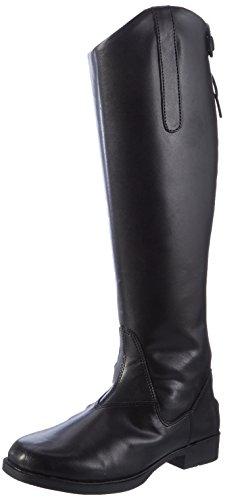 Damen Reiterstiefel Gefütterte Stiefel Leder-Optik Schuhe Metallic 149291 Schwarz Metallic 41 Flandell F50K3
