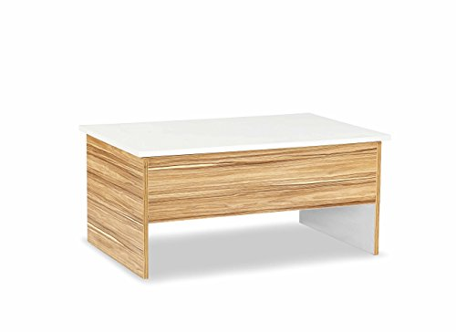 Futur Décor Multipurpose Easy Lift Top Square Coffee Table in Walnut and Glossy White Color with Hidden Compartment