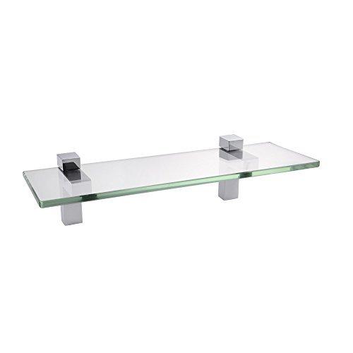 KES Badablage Glasregal Eckablage Glasbodenträger aus Edelstahl und Glas Klar und Silber Chrom, BGS3201S35