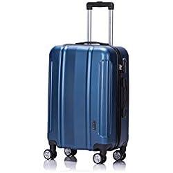 LYS - Valise Cabine Trolley 55cm Ultra léger avec 2 poignées de portage et petites poches intérieur ABS Rigide résistante bagage à main pour Ryanair, Easyjet, Lufthansa etc