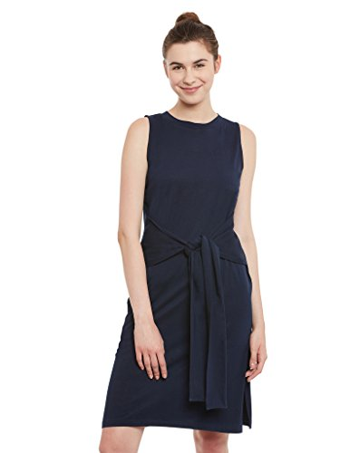 Miss Chase Women's Navy Blue Plain Solid Round Neck Half Sleeves Knee-length Knotted Dress