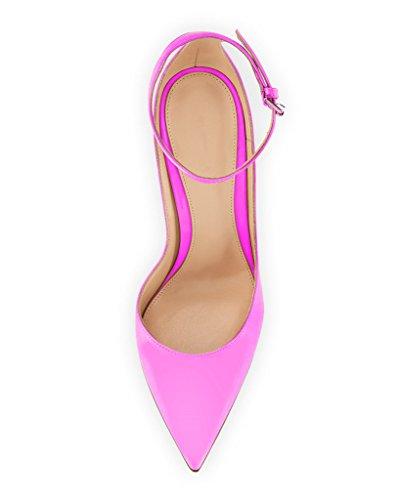 EDEFS - Escarpins Femme - Brillant Coupé Chaussure - Cheville Boucle - Talon Aiguille - Bout pointu fermé Rose