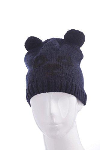Chic-Net KinderTiermütze Beanie Mütze Skimütze Tiergesicht Bär in Blau Schwarz