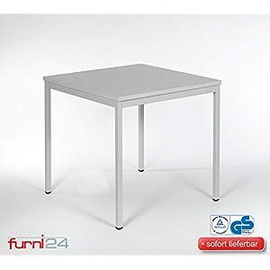 Furni 24 Schreibtisch Seminartisch 80 cm x 80 cm x 75 cm grau Verschiedene Größen schöner Stabiler PC-Tisch mit viel Beinfreiheiten
