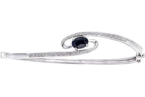 Naava Women's 9 ct White Gold 0.10 ct Diamond and Sapphire 4 Claw Set Whirlpool Bangle