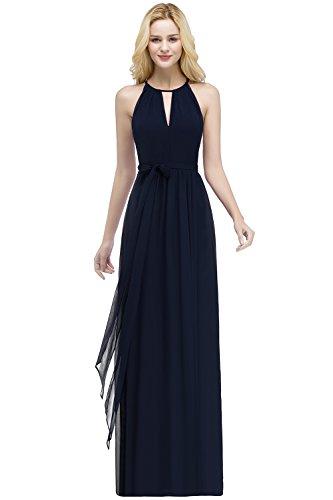 Damen Elegant Chiffon Ärmmellos Lang Abendkleider Partykleider Festkleider Tanzenkleider Navyblau...