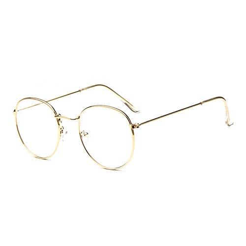 OUTEYE Dekobrille Fein Metallrahmen Nerdbrille Dekogläser Klassisches Rund Rahmen Glasses
