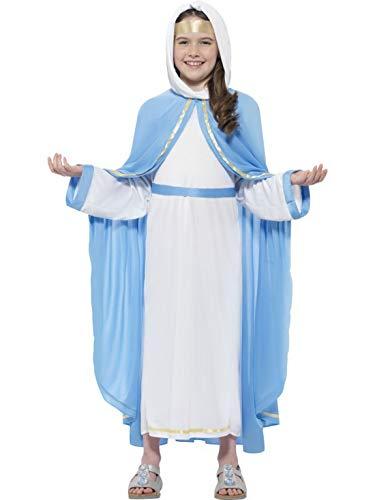 Mädchen Kinder Kostüm Jungfrau Maria für Das Krippenspiel, Kleid mit Kaputze Gewand Gürtel und Haarband, Virgin Maria Costume, perfekt für Weihnachten Karneval und Fasching, 104-116, Blau