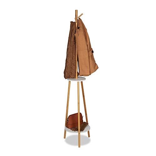 Relaxdays Garderobenständer, 8 Haken, 2 Ablagen, Jackenständer aus Bambus & MDF Holz, Garderobe HxD 181x37cm, Natur/weiß