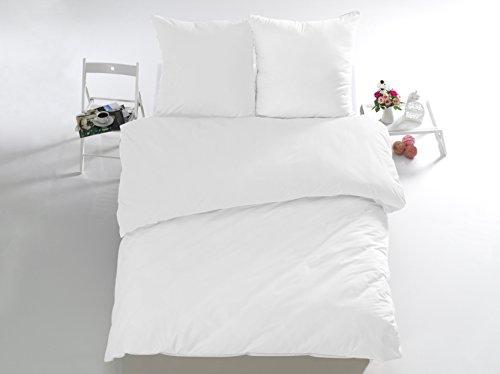 Melunda 3 tlg. Renforcé Bettwäsche Set | Bettdeckenbezug 200x220 cm, mit 2 Kopfkissenbezüge 80x80 cm | Weiß | 3 teilig Bettgarnitur | Baumwolle Bettbezug mit Reißverschluss | Oeko-Tex